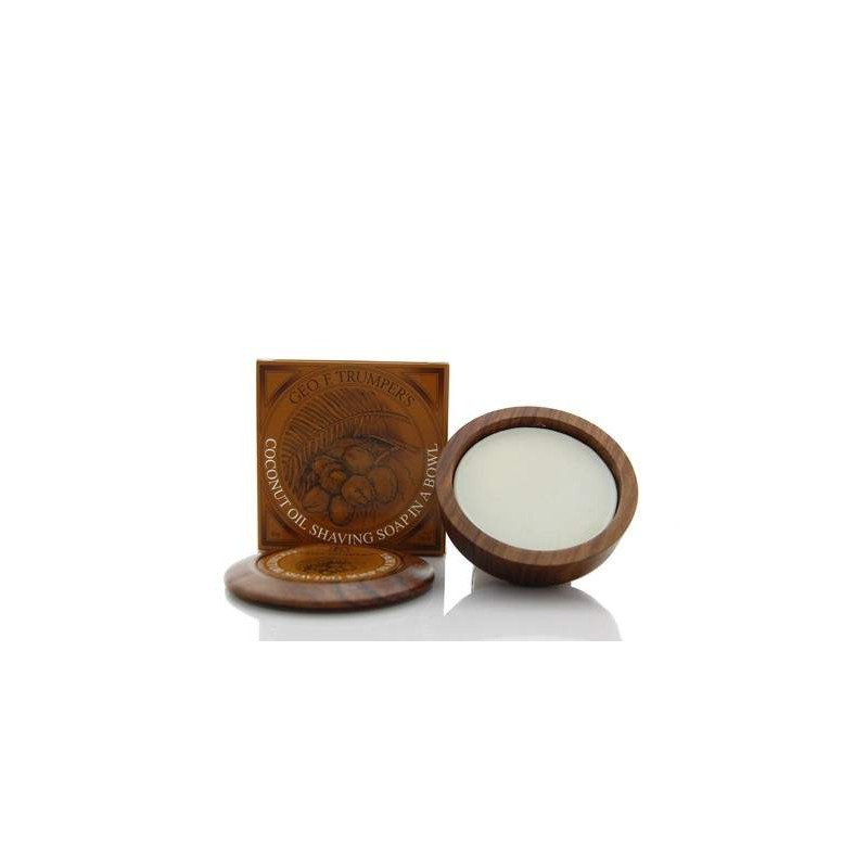 Coconut Shaving Soap in Wooden Bowl 80g