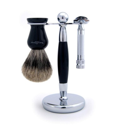 Ebony Chrome Stand For Razor And Shaving Brush