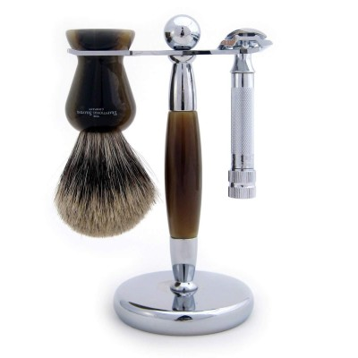 Horn Chrome Stand For Razor And Shaving Brush