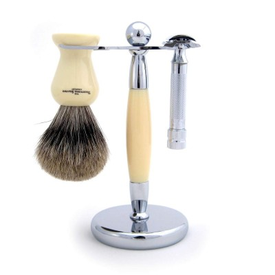 Ivory Chrome Stand For Razor And Shaving Brush