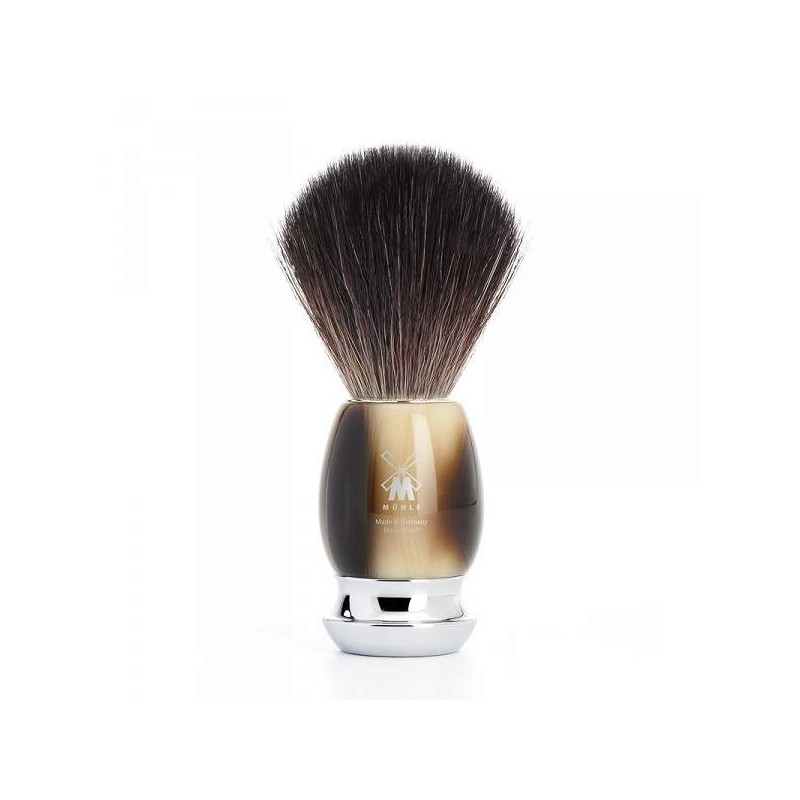 Black Fibre Shaving Brush Horn