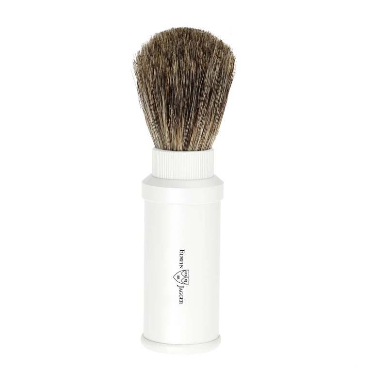 Pure Badger Travel Shaving Brush White Aluminium