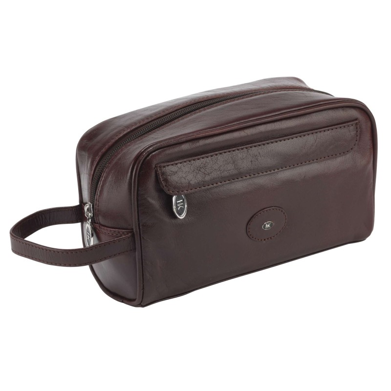 Brown Leather Wash Bag 77007