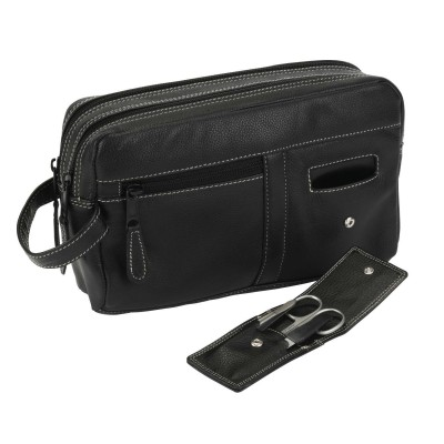 Black Leather Wash Bag 77656
