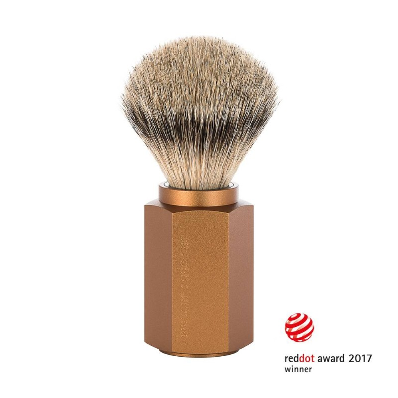Hexagon Bronze Silvertip Badger Shaving Brush 091MHXGBRONZE
