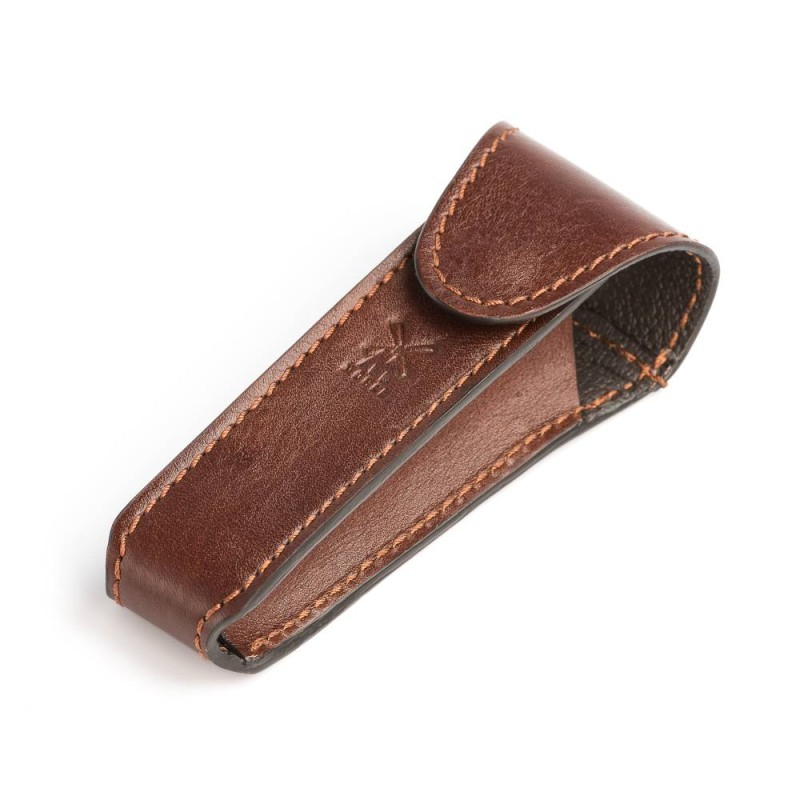 Brown Leather Safety Razor Travel Case
