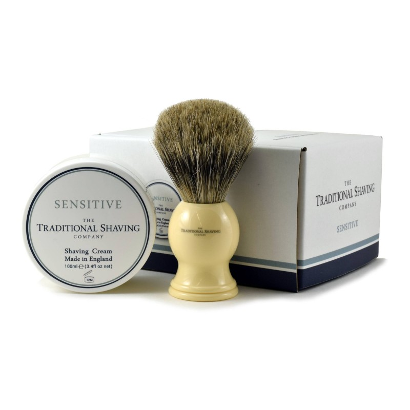 Sensitive Shaving Brush & Shaving Cream Gift Set
