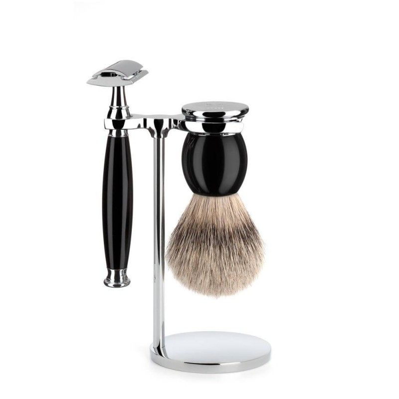 Black Sophist 3 Piece Silvertip Shaving Set