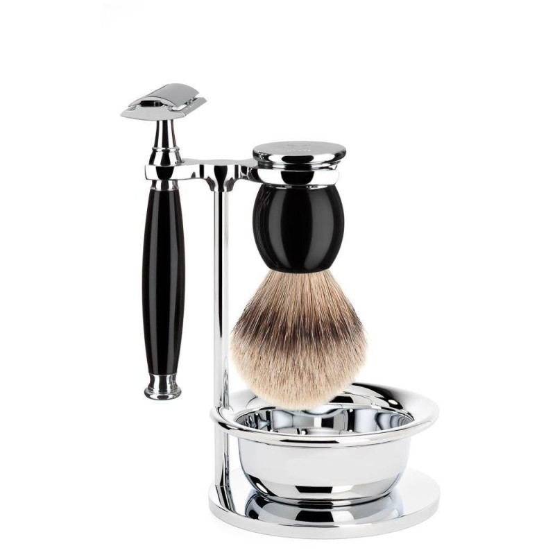 Black Sophist 4 Piece Silvertip Shaving Set