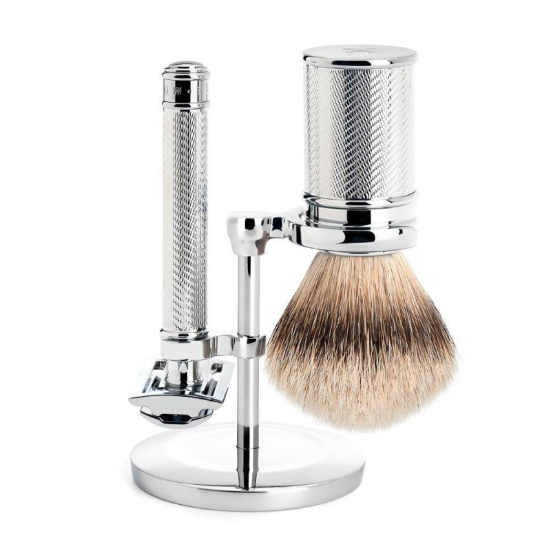 Chrome, Closed Comb 3 Piece Silvertip Shaving Set