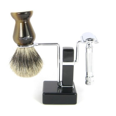 Black Razor And Shaving Brush Stand