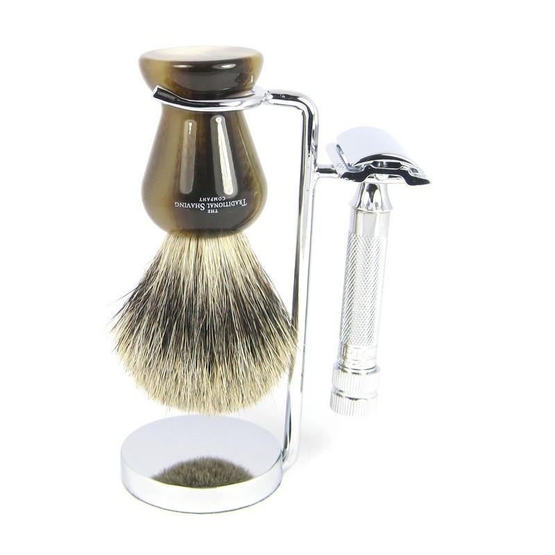 Chrome Razor And Shaving Brush Stand